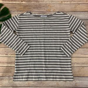 Everlane gray and white striped 3/4 sleeve top